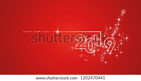 New Year 2019 line design firework champagne white red landscape vector greetings