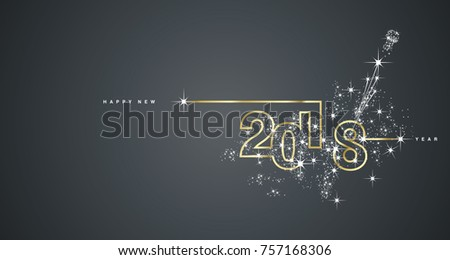 New Year 2018 line design firework gold white black vector - Shutterstock ID 757168306