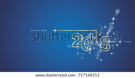 New Year 2018 line design firework gold white blue vector - Shutterstock ID 757168312