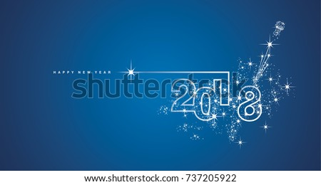 New Year 2018 line design firework white blue vector - Shutterstock ID 737205922