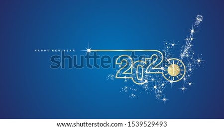 New Year 2020 line design gold clock countdown with sparkle firework white blue greeting card