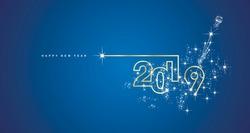 New Year 2019 line design spark firework champagne gold shining white blue vector
