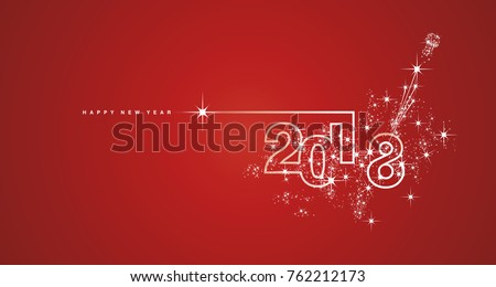 New Year 2018 line design spark firework white red vector - Shutterstock ID 762212173