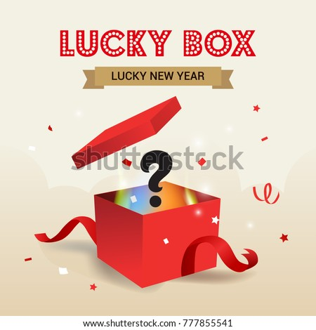 New Year Lucky Box vector illustration, Surprise red gift box