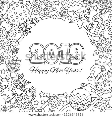 New Year Mandala With Numbers 2019 On Winter Snowflake Background Zentangle Inspired Style Zen Merry Christmas