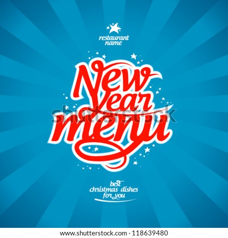 New Year menu card design template.