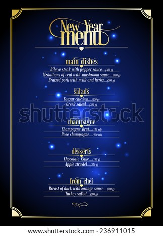 new year menu list  dark blue
