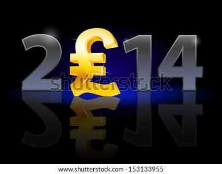 New Year 2014: metal numerals with english pound instead of zero having weak reflection. Illustration on black background.