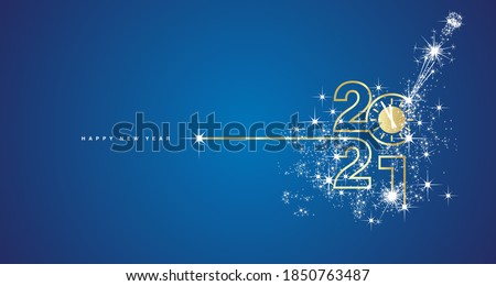 New Year 2021 midnight countdown line design firework champagne gold white blue background greeting card