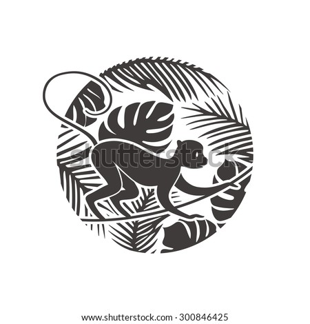 New Year Monkey in Tropical Jungle Illustration. Vector Silhouette. Chinese  Paper Cut Style Background.
