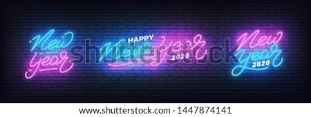 New Year neon set. Glowing neon lettering template for New Year 2020 celebration.