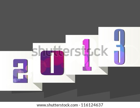 new year 2013 ,new year card ,paper design. Vector illustration