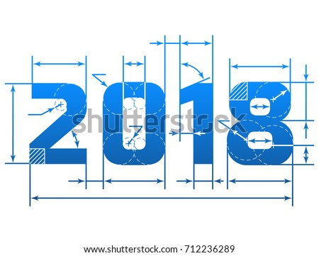 New Year 2018 number with dimension lines. Element of blueprint drawing in shape of 2018 year. Best vector design element for new years day, christmas, winter holiday, engineering, new years eve, etc