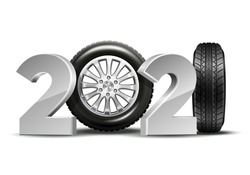 New Year numbers 2021 with car tire isolated on white background. Creative design pattern for greeting card, banner, poster, flyer, party invitation or calendar. Vector illustration