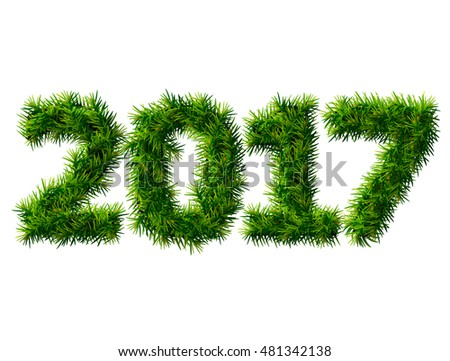 New Year 2017 of christmas tree branches isolated on white. Empty pine twigs in shape of number 2017. Vector design element for new years day, christmas, winter holiday, new years eve, silvester, etc