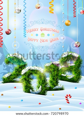 New Year 2018 of christmas tree twigs in snow. Winter landscape with pine branches, decoration, congratulation. Vector image for new years day, christmas, winter holiday, new years eve, silvester, etc