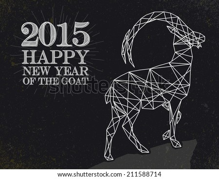 New Year of the Goat 2015 Vintage retro style over blackboard background EPS10 vector file organized in layers for easy editing