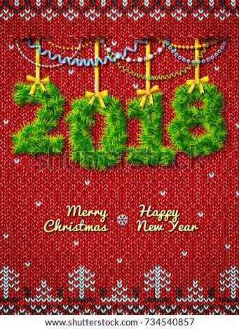 New Year 2018 of twigs as christmas decoration. Christmas congratulation against knitted background. Vector illustration for new years day, christmas, winter holiday, new years eve, silvester, etc