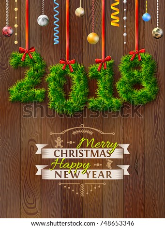 New Year 2018 of twigs like christmas decoration. Christmas congratulation against wood background. Best vector illustration for new years day, christmas, winter holiday, new years eve, silvester, etc