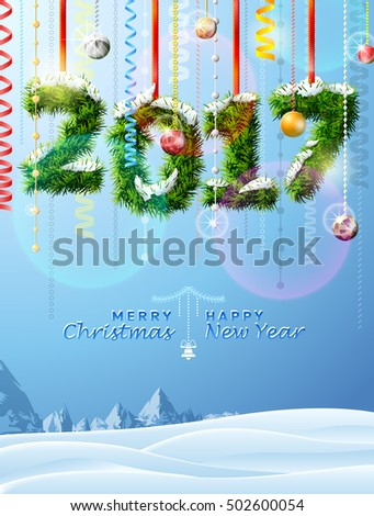 New Year 2017 of twigs like christmas decoration. Winter landscape with christmas congratulation. Vector illustration for new years day, christmas, winter holiday, new years eve, silvester, etc