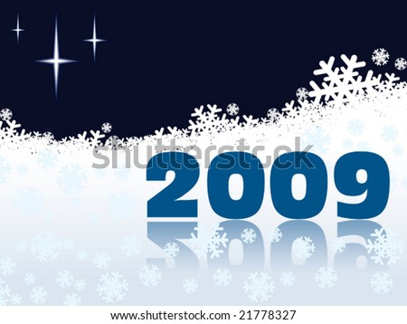 New Year 2009 on a white snow background