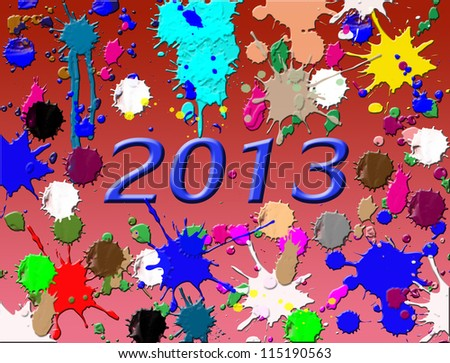 New year 2013 on splash background, vector illustration