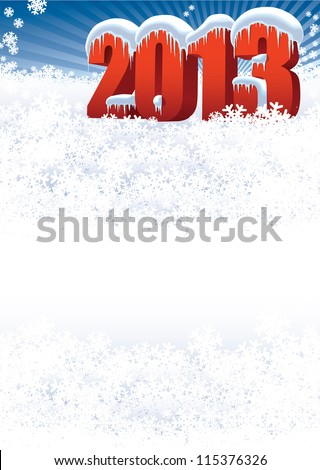 New Year 2013 on white winter background for your message