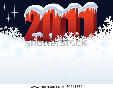New Year 2011 on winter white background