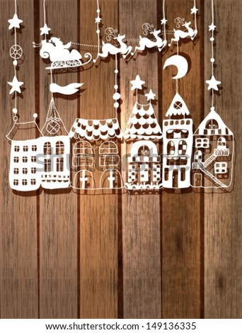 New year or Christmas card for holiday design with Santa Claus in sleigh over houses, Vector - stock vector