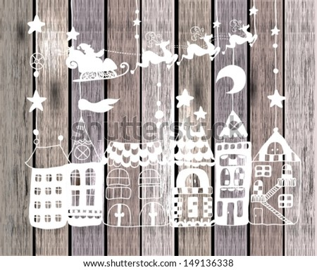 New year or Christmas card for holiday design with Santa Claus in sleigh over houses, Vector