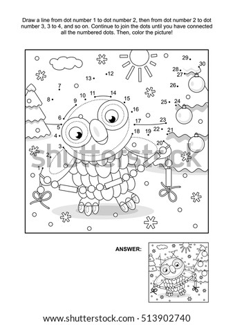 New Year or Christmas themed connect the dots picture puzzle and coloring page with owl trimming the tree with bead garland. Answer included.
