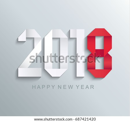 New 2018 year paper greeting card made in origami style, vector illustration.