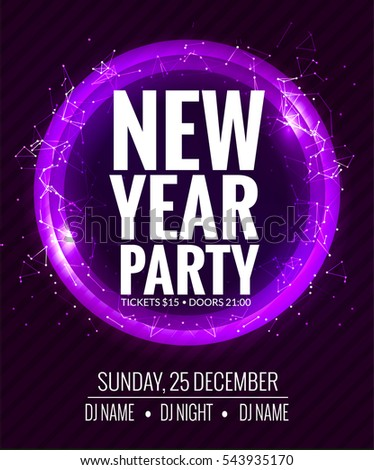 new year party and christmas party poster template design disco night banner flyer new