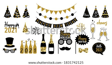 New Year party celebration. New year 2021 stickers. Vector Foto d'archivio ©