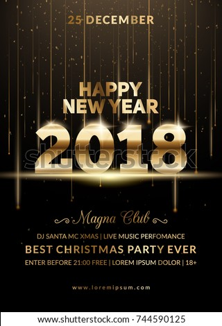 new year 2018 party club poster