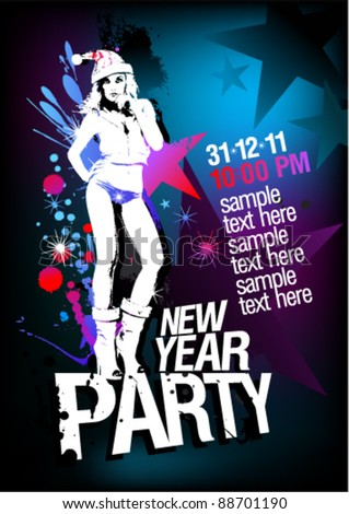 New Year Party design template with fashion girl and place for text.