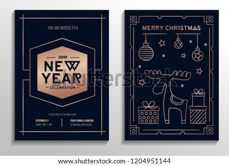 New Year party invitation cards with rose gold geometric design and navy blue background. Vector illustration #1204951144