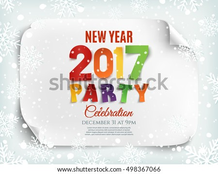 new year party poster template with snow and snowflakes winter background perfect for brochure