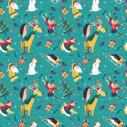 New Year Pattern with dancing Santa and Snowman. Fun Hare ia skiing. Bird with scarf and cap is skating. Seamless with pinguin, reindeer and hedgehog in Christmas decoration. Holiday set with animals