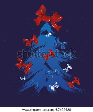 New Year Postcard Christmas holiday christmas tree poster