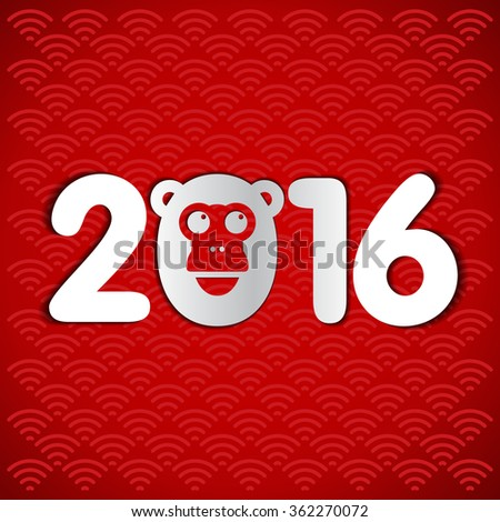 New Year postcard design, gold text with monkey symbol on red background, year of the monkey 2016 design, postcard, greeting card, banner, vector illustration #362270072