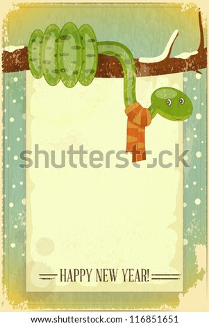 New Year Postcard design - symbol of the year, snake on a branch with place for text - vector illustration