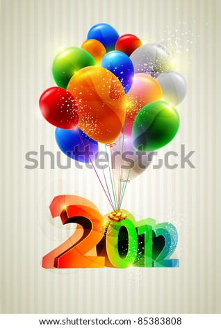 New year poster with balloons.