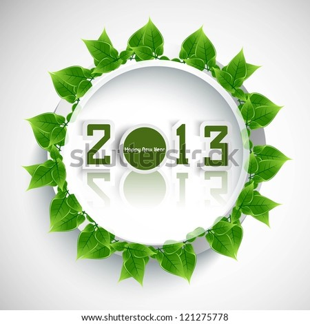 New year 2013 reflection green lives circle colorful whit background