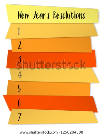 New Year Resolutions challenge vector template. Annual motivation banner design. Future resolution concept, goals for new year. List of blank memo notices. Purpose letter writing.