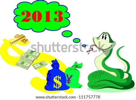New Year rich green snake with money and gold