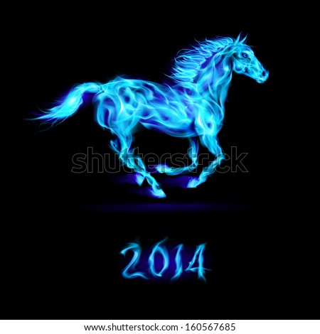 New Year 2014: running blue fire horse on black background.