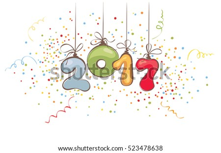 new years 2017 background vector illustration banner title with confetti and streamers