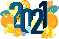 New year's business illustration 2021. Flat design. Big light bulb ideas. Isometry. Snowflakes. Large numbers of 2021. Birth of new ideas.