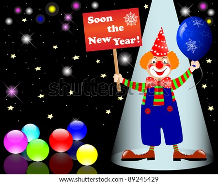 New Year's card. Clown with poster and balloon. 10 EPS. Vector illustration.